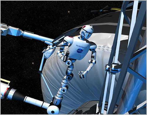 Robonaut 2 trabajando - ohn Frassanito & Associates para la NASA