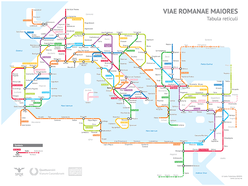 Las calzadas romanas principales representadas como un mapa de metro