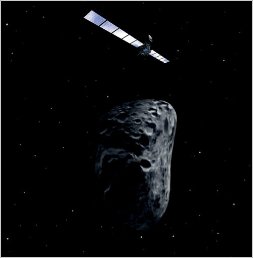 Rosetta en las proximidades de un asteroide - ESA/AOES Medialab