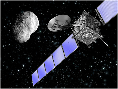 Rosetta y Steins - ESA, imagen por C.Carreau