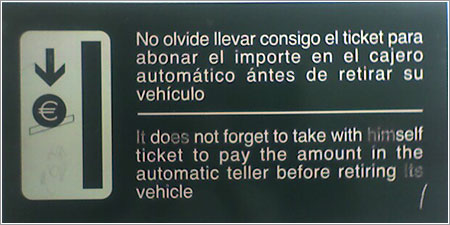 Cartel cajero parking por Tokafondo
