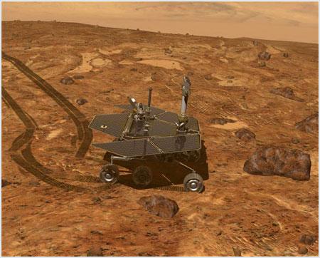Uno de los rovers acercándose a un punto de interés / JPL