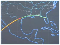 Ruta de entrada del Discovery © NASA TV