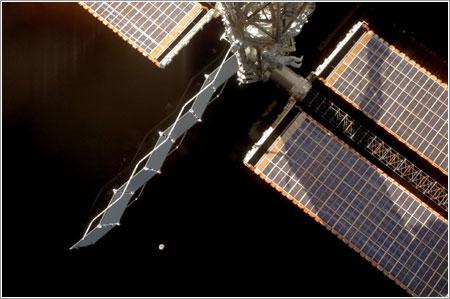 Daniel Tani inspeccionando la SARJ / NASA