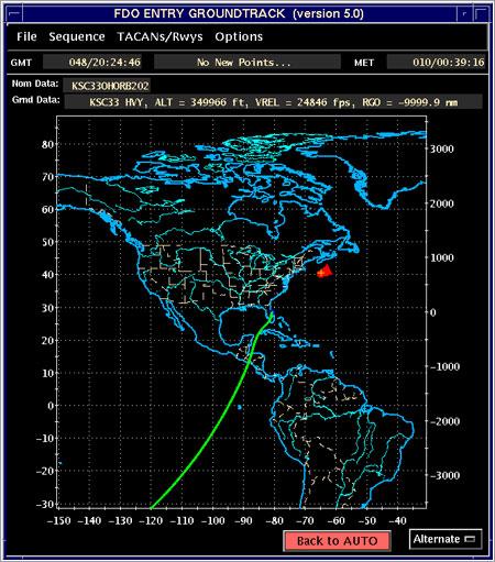 Ruta del Atlantis en el aterrizaje en la órbita 202