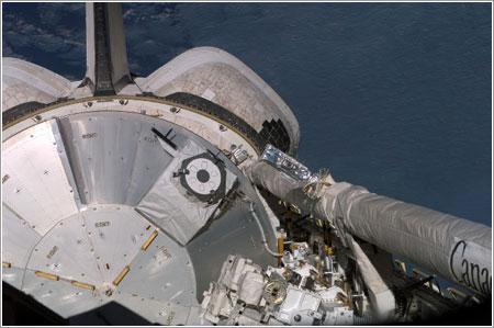 El ELM de Kibo en la bodega de carga del Endeavour