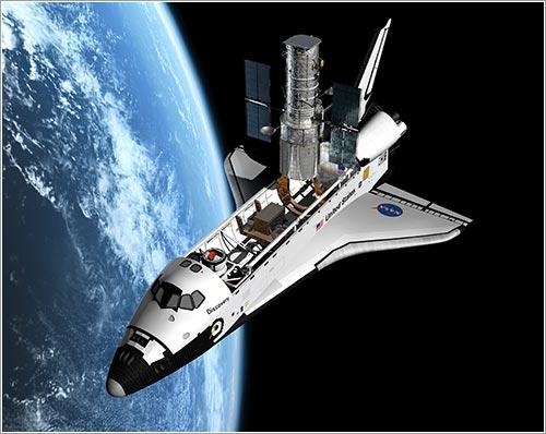 Impresión artística del Atlantis y el Hubble durante la misión - ESA/Hubble