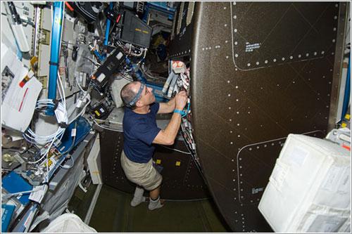Donald Pettit trabajando - NASA