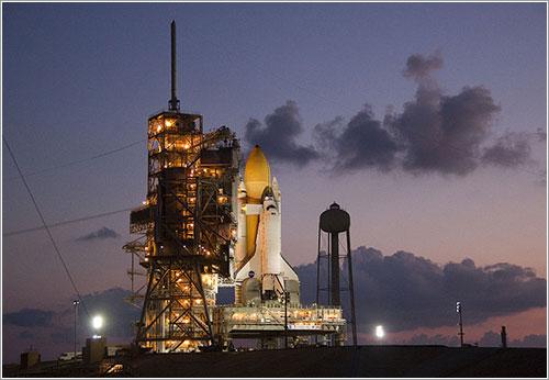 El Discovery en la plataforma de lanzamiento el pasado 21 de septiembre - NASA