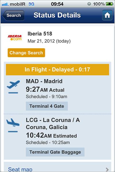 Datos de vuelo en SeatGuru para iPhone