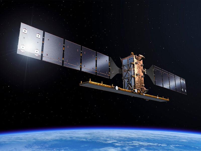 Impresión artística de un Sentinel–1 en órbita