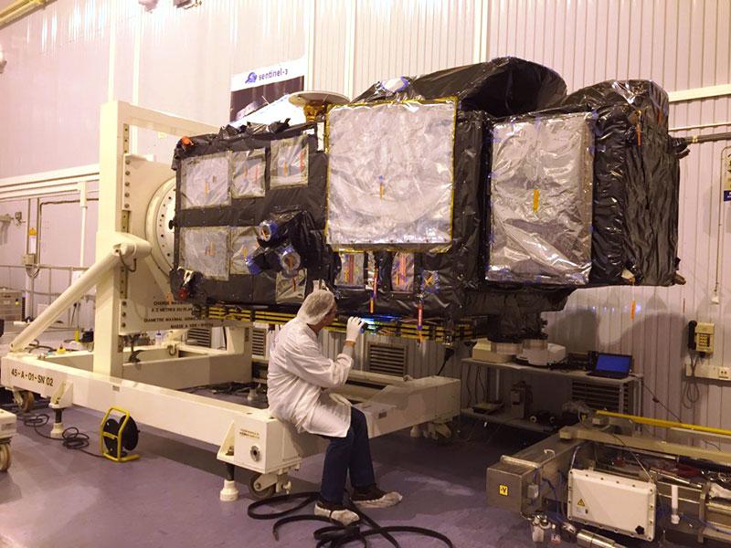 Sentinel–3A en pruebas antes del lanzamiento