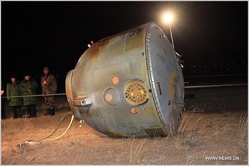 La Shenzhou-8 tras el aterrizaje