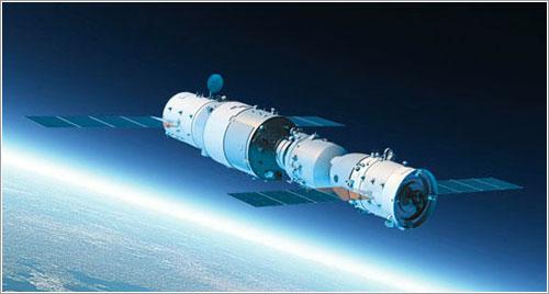 Impresión artística de ambas naves acopladas en órbita