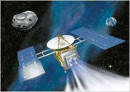 Impresión artística de la sonda Hayabusa en el espacio @ JAXA