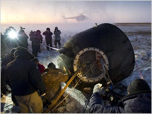Soyuz TMA-02M recién aterrizada