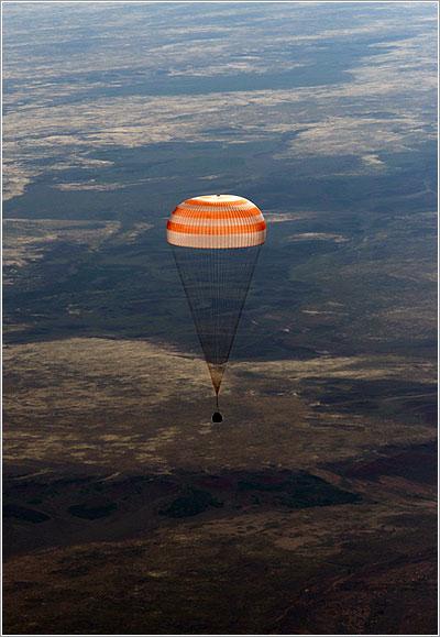 La TMA-07M momentos antes de aterrizar - NASA