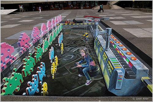 Space Invaders en Lausana por Leon Keer y Remko van Schaik