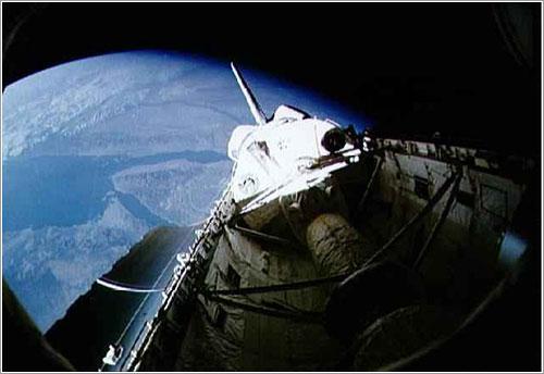 El Spacelab en la bodega de carga del Discovery