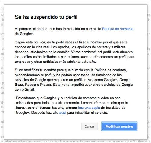 Suspensión Google+