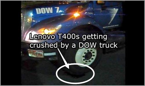 El Lenovo ThinkPad como calza para camiones