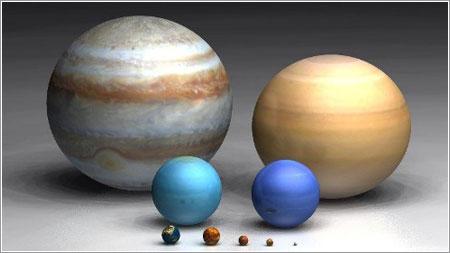 Tamaños relativos en el Sistema Solar