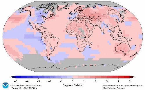 Anomalías de temperatura en 2013