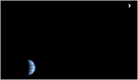 La Tierra y la Luna vistas desde Marte