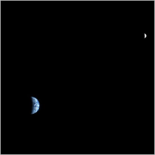La Tierra y la Luna desde Marte