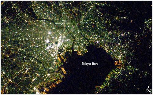 La bahía de Tokyo vista desde la ISS