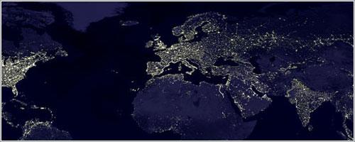La Tierra de noche - C. Mayhew &R. Simmon(NASA/GSFC), NOAA/NGDC, DMSP Digital Archive