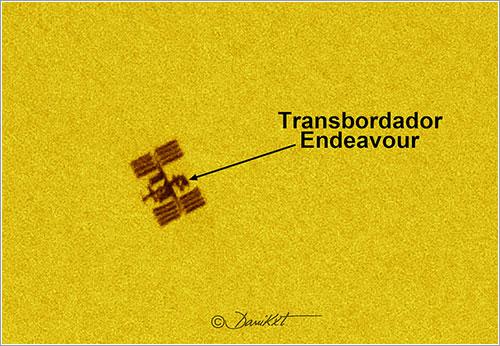 El Endeavour frente al Sol