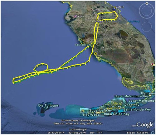 Ruta recorrida por el G-Force One