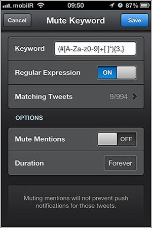 Filtrado avanzado en Tweetbot con expresiones regulares