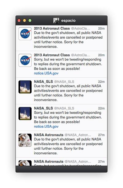 Cuentas de Twitter de la NASA