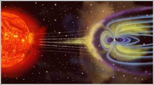 Impresión artística del encuentro del viento solar con la magnetosfera de la Tierra
