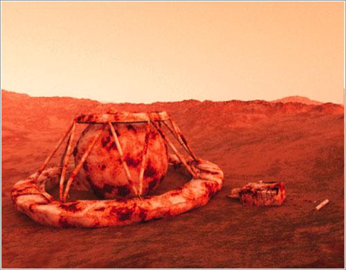 Sonda arruinada sobre la superficie de Venus