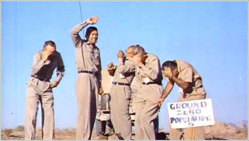 Los cinco voluntarios en el momento de la explosión