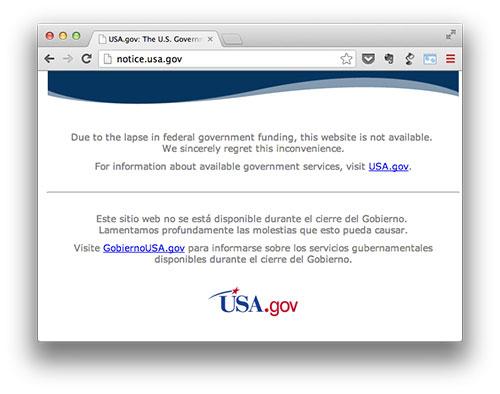 Web de la NASA cerrada