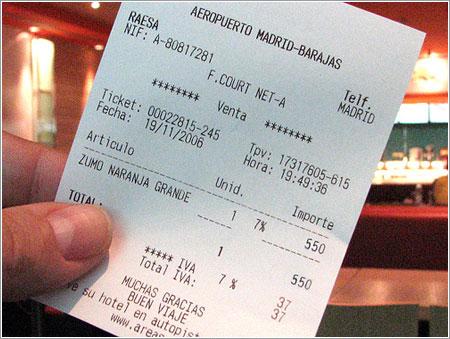 Un zumo, 550 pesetas