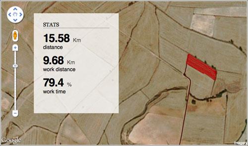 Así se ve el trabajo durante dos días de un agricultor con GPS