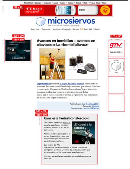 Posiciones de algunos formatos gráficos de banners en Microsiervos