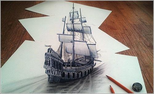 No lo parece pero este barco está dibujado a lápiz en papel