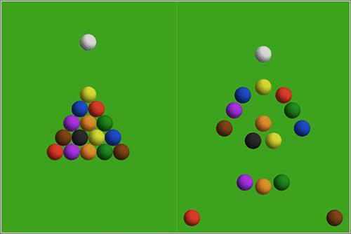 Análisis físico detallado y simulaciones de un saque de billar con bolas perfectamente alineadas