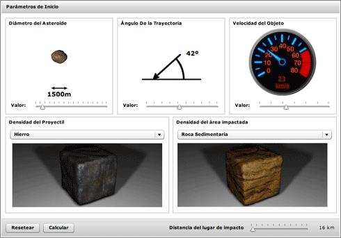 Calculadora de Impactos: datos de entrada