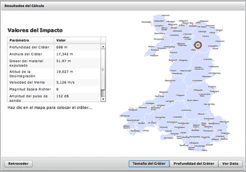 Calculadora de Impactos: mapa de Gales