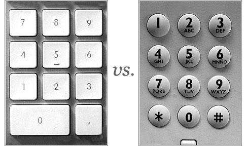 Teclado de calculadora/ordenador vs. Teclado de teléfono