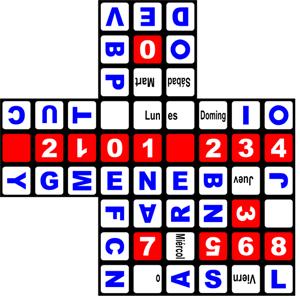 Calendario Rubik en castellano