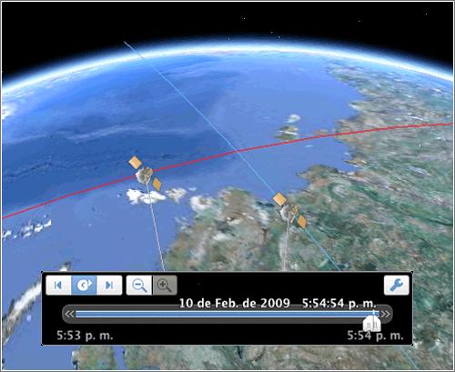 Choque de satélites en Google Earth