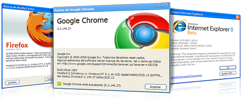 Chrome, Firefox y Explorer